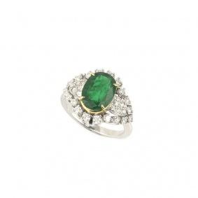 18k White Gold Emerald and Diamond Dress Ring 2.80ct